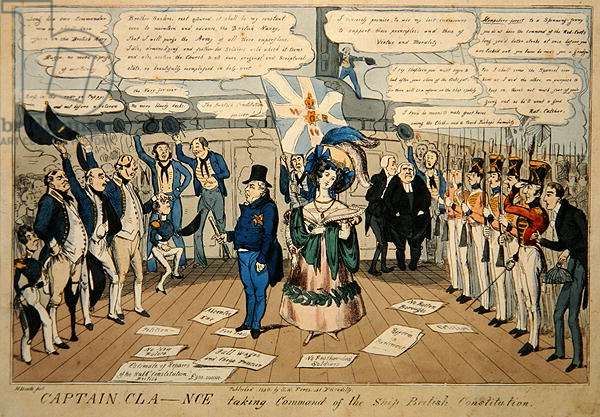 Captain Cla--nce taking command of the ship, British Constitution, published by S.W. Flores, 1830 (coloured etching)