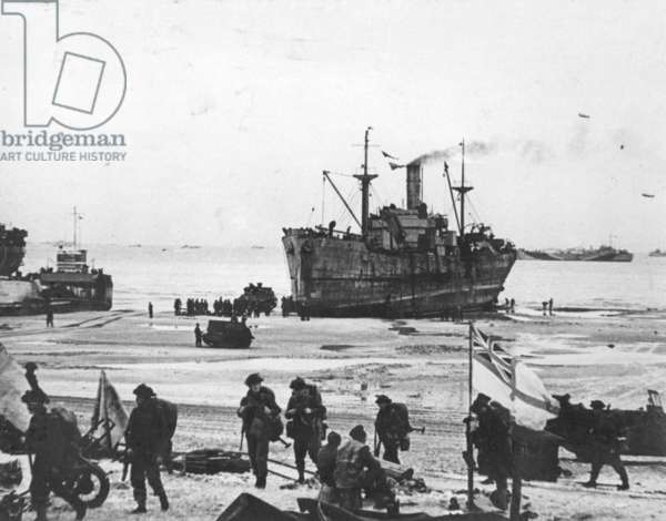 Vessel beached for unloading, D-Day, 6 June 1944 (b/w photo)