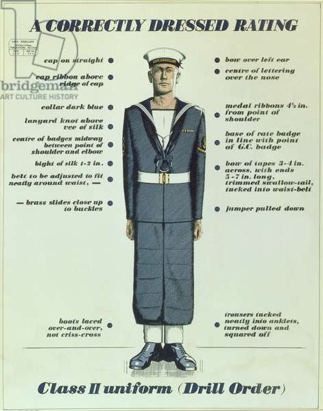 A Correctly Dressed Rating, Class II uniform (Drill Order), 1957 (colour litho)