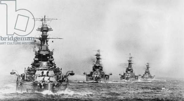 View of Revenge class battleships (launched 1914-16) at sea in line ahead, c.1918 (b/w photo)