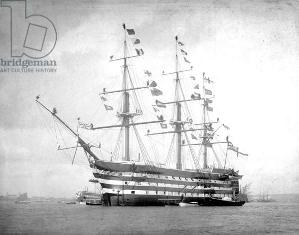 HMS Victory Dressed Overall, Trafalgar Day, 1890s (b/w photo)