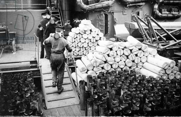 Empty Cartridge Casts on HMS Duke of York, c.1942 (b/w photo)