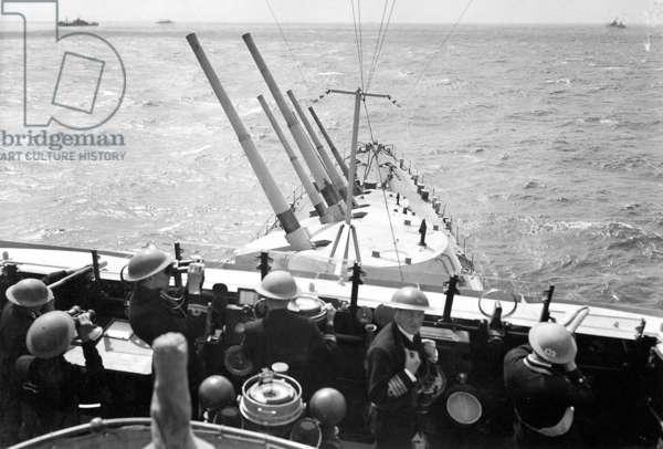 HMS Euryalus Preparing for an Air Attack (b/w photo)