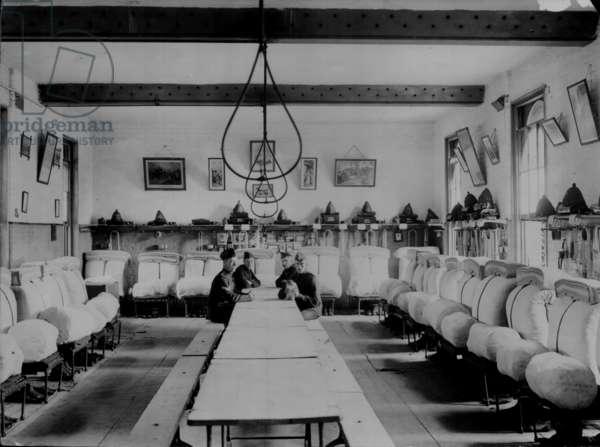 Men's Barrack Room at the Royal Marine Artillery Barracks, Eastney, Portsmouth, UK, c.1902-04 (b/w photo)