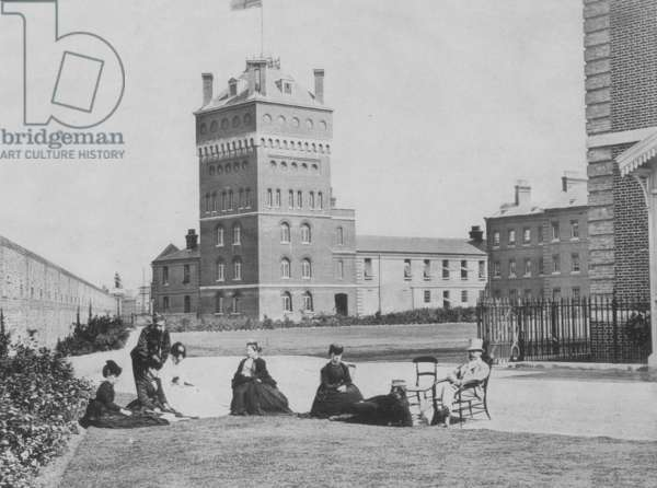 Eastney House and Clock Tower, Royal Marine Artillery Barracks, Eastney, Portsmouth, Hampshire, c.1868 (b/w photo)