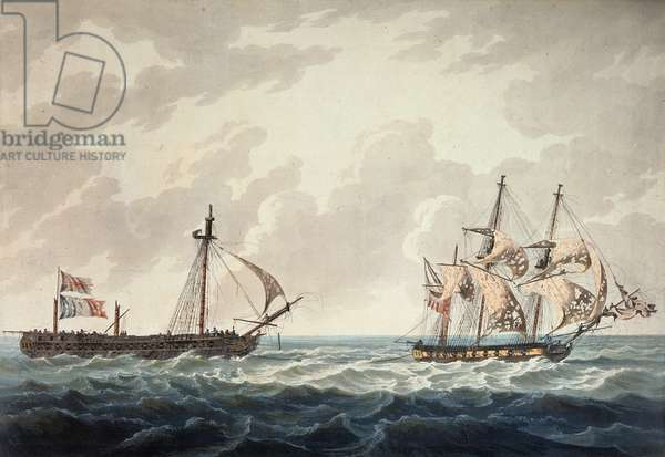 His Majesty's Sloop, Bonne Citoyenne, taking the French frigate, La Furieuse, in tow after the action of 6th July 1809, engraved by R & D Havell, published by Robert Cribb in 1810 (coloured engraving)