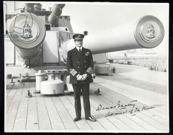 Admiral of the Fleet David Beatty, HMS Queen Elizabeth (b/w photo)