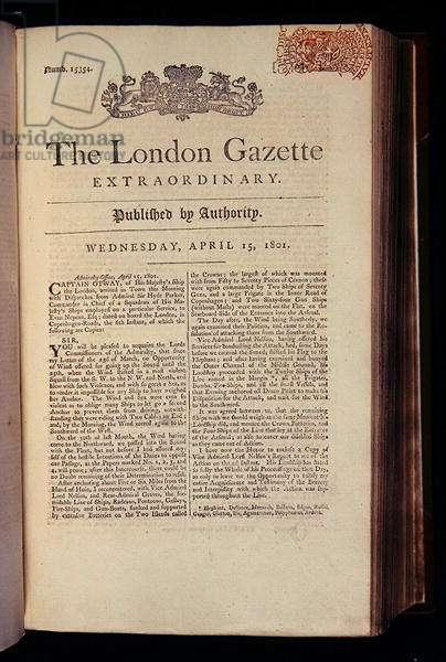 Titlepage of 'The London Gazette', 15th April 1801 (print)