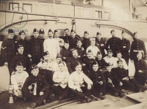 Royal Marine detachment aboard an unidentified warship, c.1900 (b/w photo)