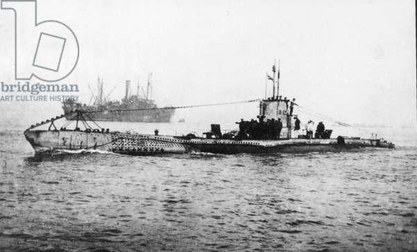 Surrendered U-boat, c.1914-18 (b/w photo)