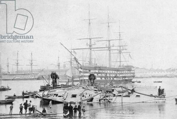 HMS Victory in Portsmouth Harbour, c.1870 (b/w photo)