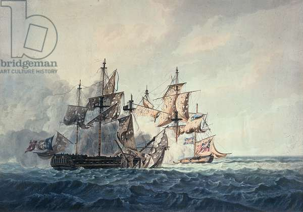 The Action between His Majesty's Sloop, Bonne Citoyenne, and the French frigate, La Furieuse, on the 6th July 1809, of the Western Islands, engraved by R & D Havell, published by Robert Cribb in 1810 (coloured engraving)