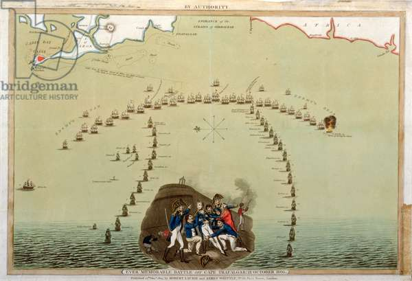Ever Memorable Battle off Cape Trafalgar, 21st October 1805, published by Laurie & Whittle, 12th December 1805 (coloured aquatint)