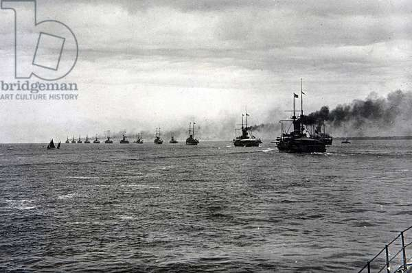 Fleet in Line Ahead (b/w photo)