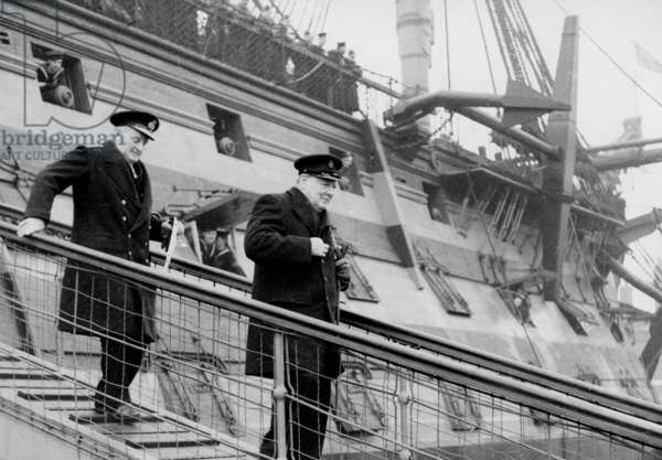 Winston Churchill & Admiral William James disembark HMS Victory, 1939-45 (b/w photo)