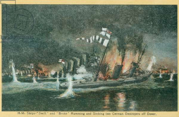 HM ships Broke and Swift in action with German Destroyers, Dover, 20th April 1917 (colour litho)
