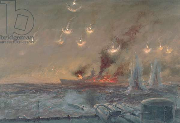 Sinking of the Scharnhorst, 26th December 1943 (oil on canvas)