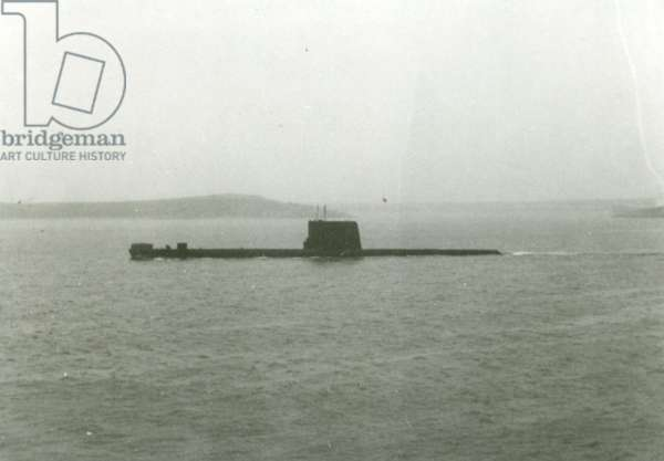 HMS Onyx during the Falklands War, 1982 (b/w photo)