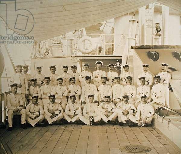 Royal Marine detachment aboard the cruiser HMS Astrea, c.1905 (b/w photo)