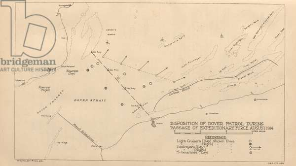 Disposition of Dover Patrol during Passage of Expeditionary Force, August 1914 (litho)