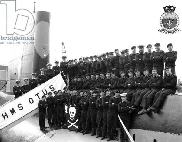 HMS Otus Crew, on return from Gulf War (b/w photo)