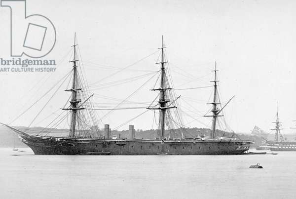 HMS Warrior at Anchor at anchor (b/w photo)