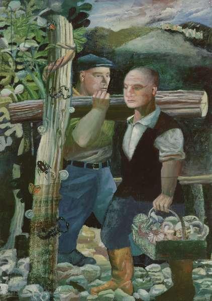 Contadini con Funghi e Legna, 1996 (oil on canvas)