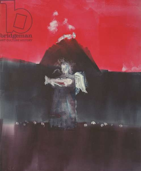 Angel Passing a Hill Village, 2001 (monotype)