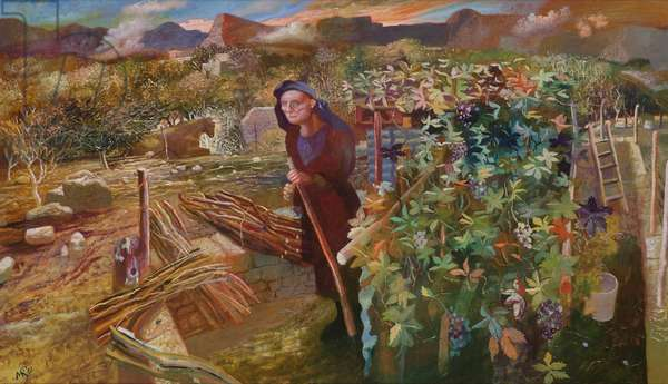 Woman Gathering Wood (S. Vincenzo, Italy), 1996 (oil on canvas)