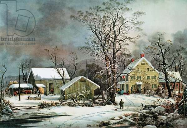 Winter in the Country - A Cold Morning, New England (litho)