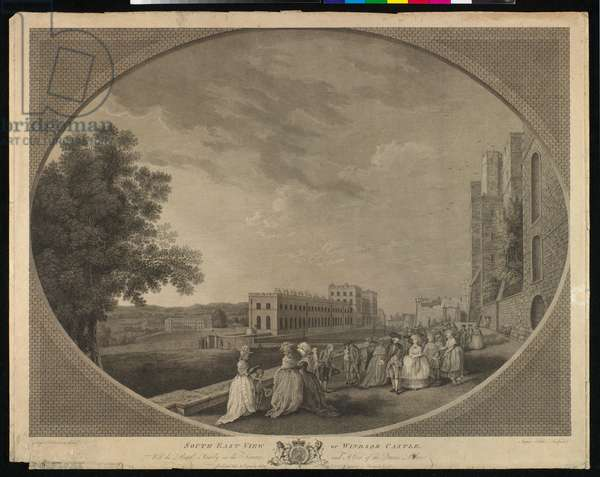 South-East View of Windsor Castle with the Royal Family on the Terrace and a view of the Queen's Palace, 21 July 1783 (engraving)