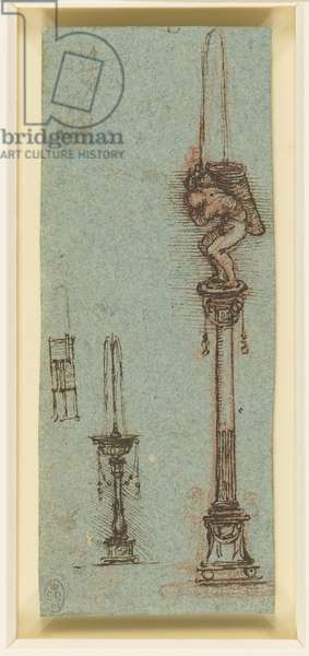 Designs for a fountain, c.1513 (red chalk, pen & ink, on blue paper)