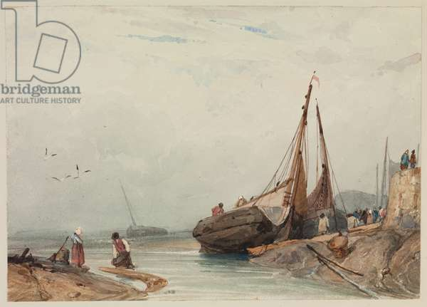 Fishing boats at low tide, Dunkirk, c.1822 (pencil & w/c on paper)