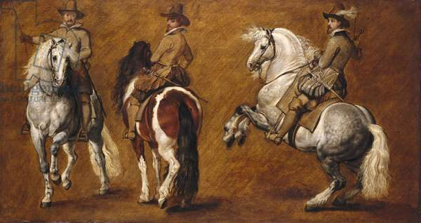 Study of horsemen in three positions, c.1610-15 (oil on panel)