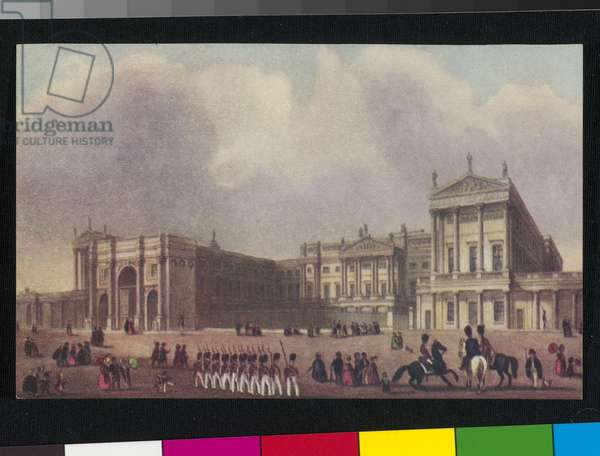 View of Buckingham Palace and Marble Arch. Soldiers marching in foreground, people walking about. c.1840 (colour litho)