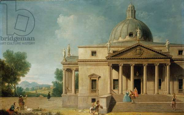 Capriccio with a view of Mereworth Castle, Kent, 1746 (oil on canvas)