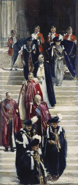 King George V and Queen Mary leaving St. George's Chapel after the Garter Service, 1913 (oil on board)