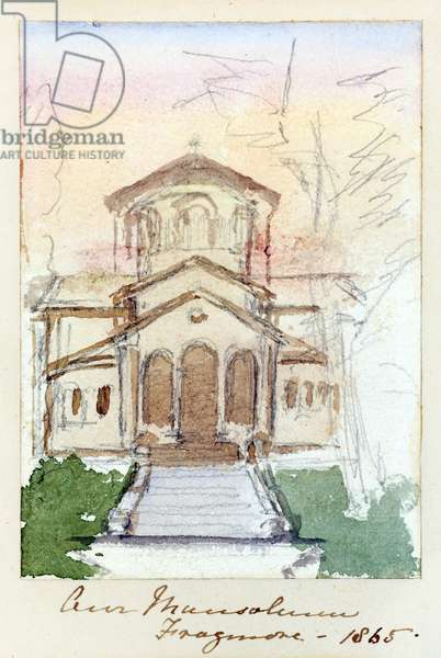 The Mausoleum, Frogmore, 1865 (pencil with w/c on paper)