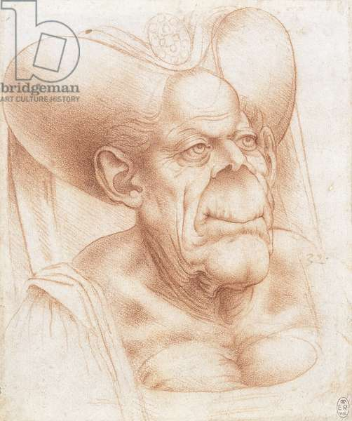 The bust of a grotesque old woman, c.1510-20 (chalk on paper)
