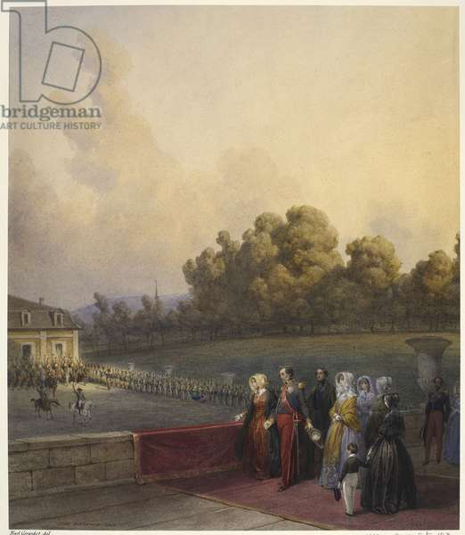 Royal visit to Louis-Philippe: Queen Victoria taking the salute of the Garde Nationale, on the balcony of the Château d'Eu, 2 September 1843, dated 1843 (w/c on paper)