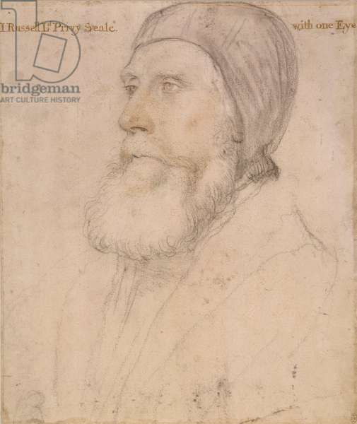 John Russell, 1st Earl of Bedford, c.1532-43 (black, white & coloured chalks on paper)