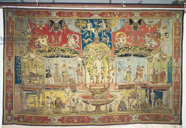 The Triumph of Bacchus ( woven silk and wool tapestry with gilt-metal- and silver-wrapped thread))