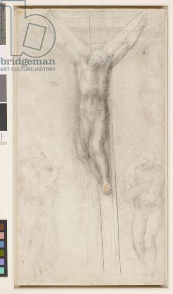 Recto: Christ on the Cross with the Virgin and St John. Verso: study of a leg, c. 1560-64 (black chalk, white heightening and a touch of red chalk)