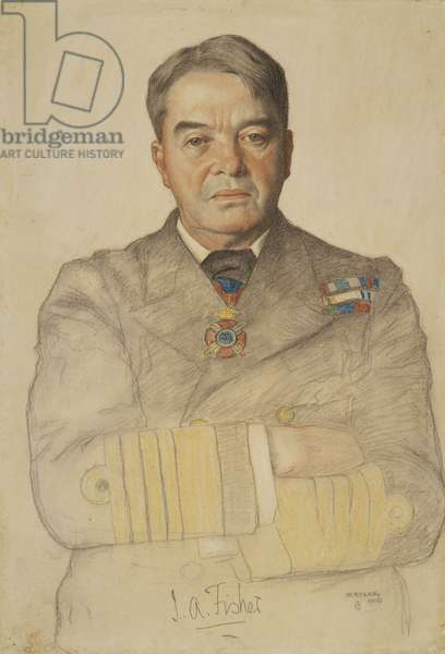 Admiral Lord Fisher, 1908 (black & coloured chalk over wash on paper)