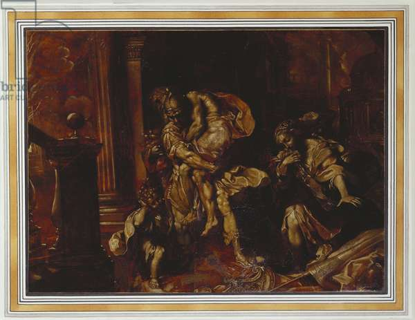 Aeneas and Anchises escaping from Troy, (oil on canvas)