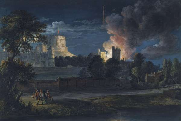 Windsor Castle from Datchet Lane on a rejoicing night, 1768 (gouache & gold paint on paper)
