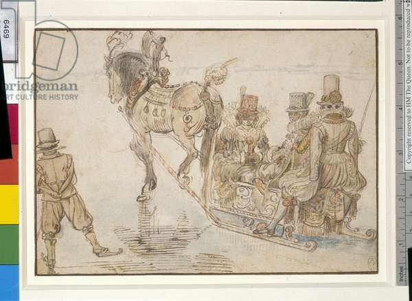 Two ladies and a gentleman on a horse-drawn sleigh, c.1620 (pen & brown ink with wash & w/c over graphite on paper)