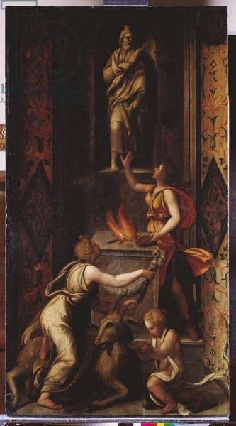 The Sacrifice of a Goat to Jupiter, c.1536-39 (oil on canvas)