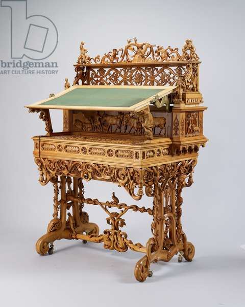 Writing table, 1851 (sycamore, birch, maple, lime, cedar, box, steel and brass)