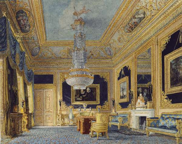 Carlton House: The Blue Velvet Room, c.1816 (w/c with touches of bodycolour and gum arabic over pencil on paper)